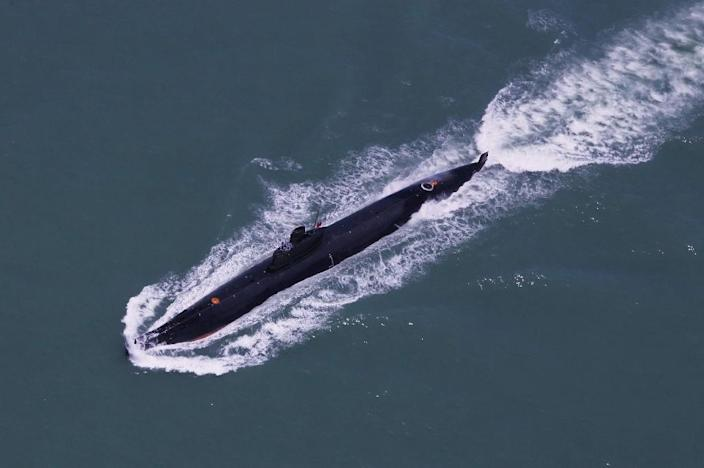 This undated photo taken in August 2014 shows a submarine of the People's Liberation Army Navy's Nanhai Fleet taking part in a marine training session in the South China Sea (AFP Photo/)