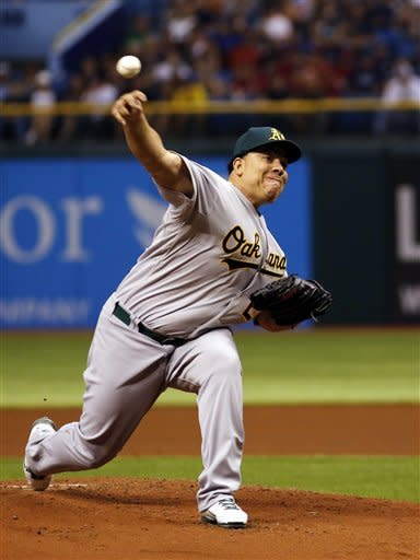 Oakland Athletics Bartolo Colon throws the ball against the Tampa Bay Rays during the first inning of a baseball game, Saturday, May 5, 2012, in St. Petersburg, Fla. (AP Photo/Scott Iskowitz)