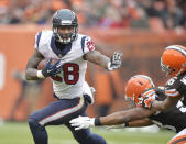 Houston Texans running back Alfred Blue (28) runs the ball against the Cleveland Browns in the third quarter of an NFL football game Sunday, Nov. 16, 2014, in Cleveland. (AP Photo/David Richard)