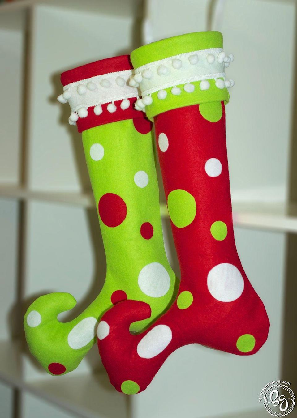 "<p>These felt stockings with pom-pom trim would be a perfect fit on a mantel that belongs to both Little Cindy Lou Who and you!<br></p><p><strong>Get the tutorial at <a href=""http://beinggenevieve.com/whoville-christmas-stockings/"" rel=""nofollow noopener"" target=""_blank"" data-ylk=""slk:Being Genevieve"" class=""link rapid-noclick-resp"">Being Genevieve</a>.</strong><strong><br></strong></p><p><strong><a class=""link rapid-noclick-resp"" href=""https://www.amazon.com/FabricLA-Acrylic-Felt-Yard-Wide/dp/B084Z2YNHN/ref=sr_1_2?crid=VTMIYPDRE8B1&dchild=1&keywords=red+felt+fabric&qid=1603063852&sprefix=red+felt%2Caps%2C153&sr=8-2&tag=syn-yahoo-20&ascsubtag=%5Bartid%7C10050.g.28982778%5Bsrc%7Cyahoo-us"" rel=""nofollow noopener"" target=""_blank"" data-ylk=""slk:SHOP RED FELT"">SHOP RED FELT</a></strong></p>"
