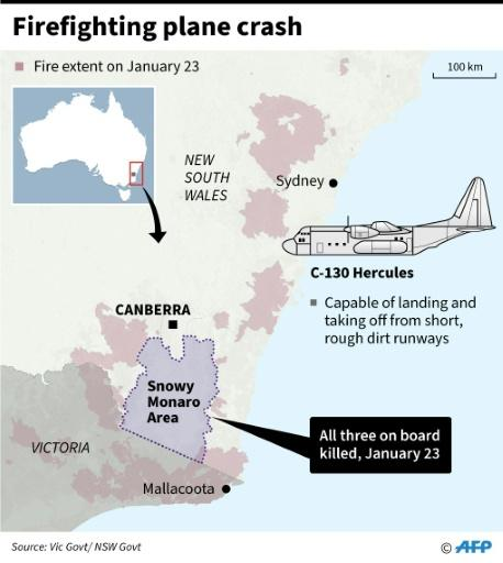 Map showing the area where a firefighting plane went crashed in Australia on Thursday