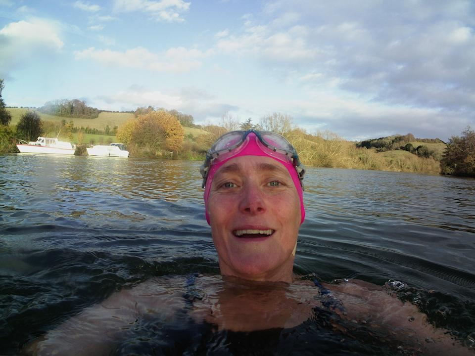 Angela Bryant regularly swims in the Thames. (Supplied Angela Bryant)