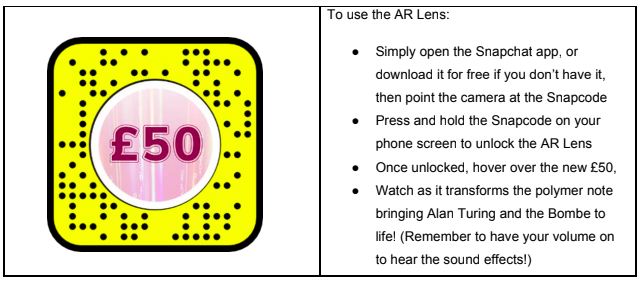 The Snapchat key to unlock the AR experience. Credit: Bank of England