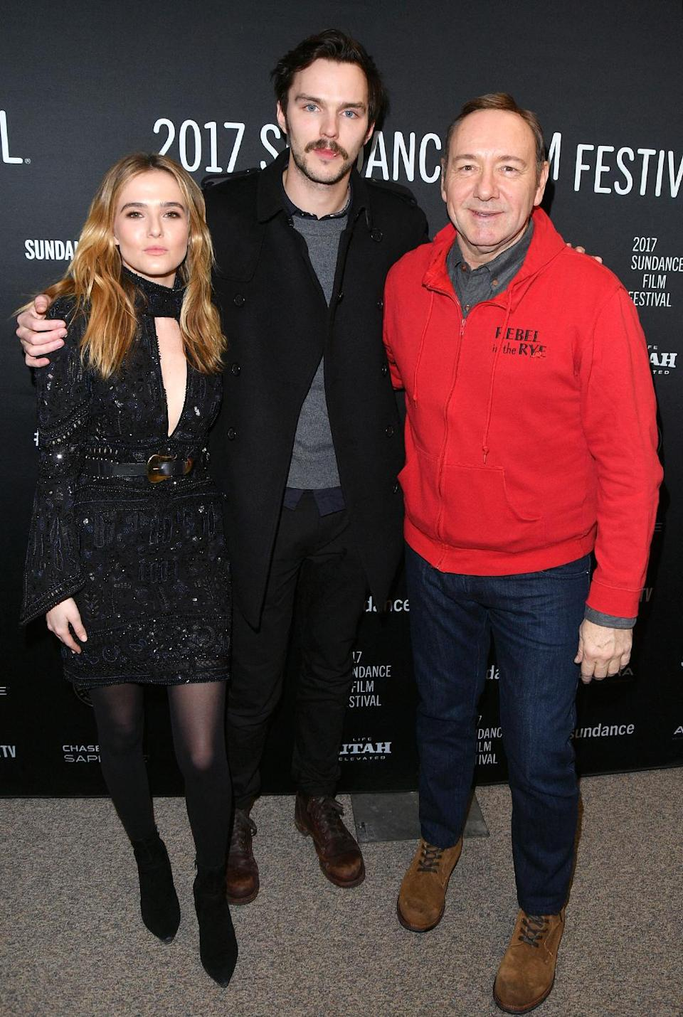 <p>The 'Rebel in the Rye' cast hugs it out at the Jan. 24 premiere. (Photo: George Pimentel/Getty Images) </p>