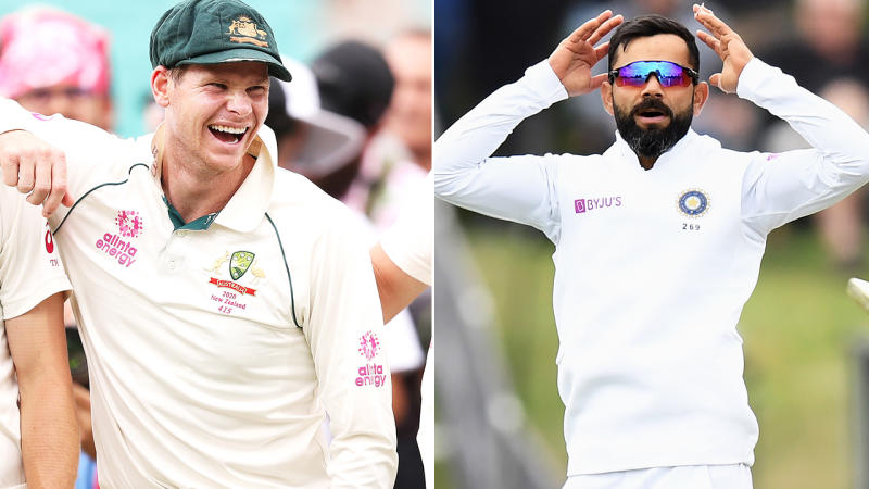 Steve Smith and Virat Kohli, pictured here in action for their countries.