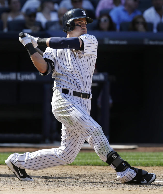 New York Yankees' Jacoby Ellsbury bats during the ninth inning of the game against the Cincinnati Reds at Yankee Stadium Sunday, July 20, 2014 in New York. The Yankees defeated the Reds 3-2. (AP Photo/Seth Wenig)