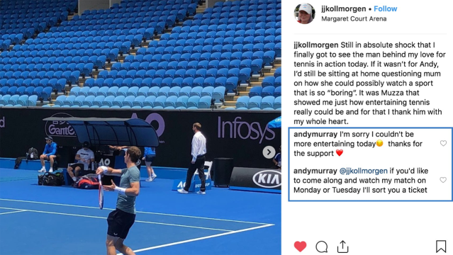 The fan's message and Murray's reply. Image: Instagram
