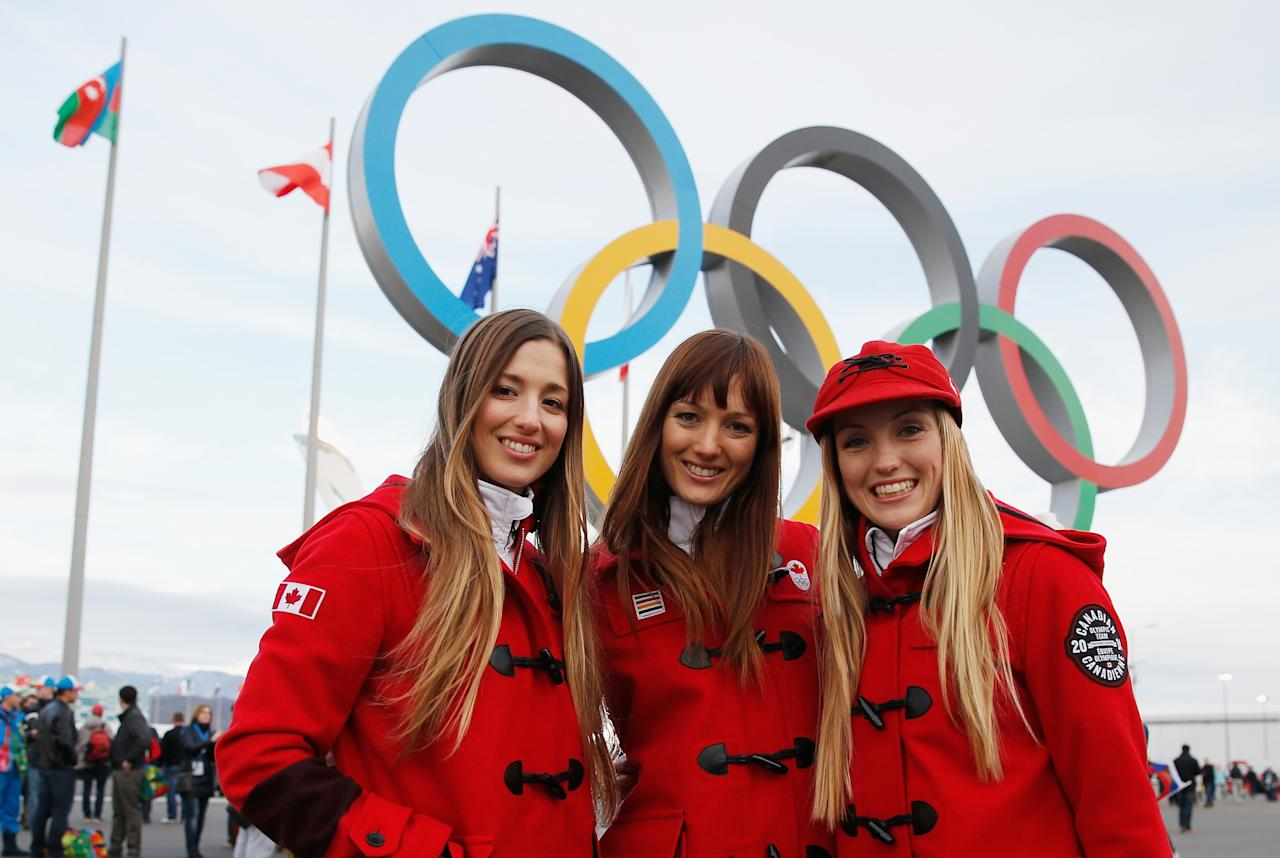 SOCHI, RUSSIA - FEBRUARY 09: (BROADCAST-OUT) (L-R) Chloe Dufour-Lapointe, Maxime Dufour-Lapointe and Justine Dufour-Lapointe of the Canadian freestyle skiing team pose in Olympic Park during the Sochi 2014 Winter Olympics on February 9, 2014 in Sochi, Russia. (Photo by Scott Halleran/Getty Images)