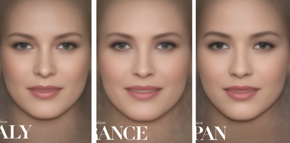 A study shows the average face of regional Vogue covers over the past 25 years look eerily similar [Photo: MyVoucherCodes]