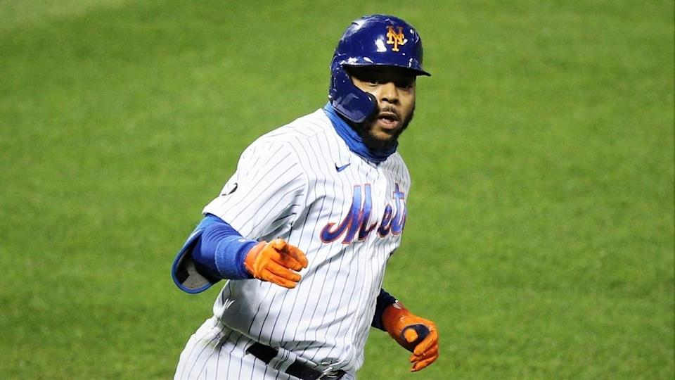 Dom Smith Mets reacts hitting home run against Tampa Bay Rays