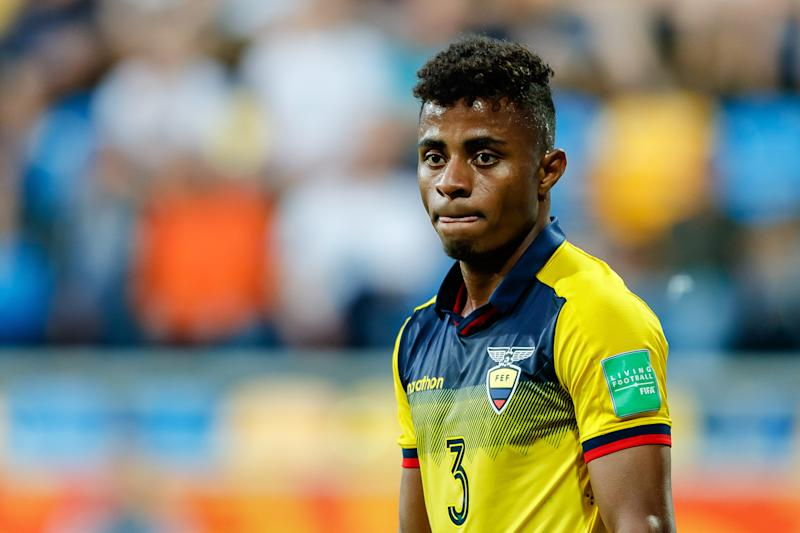 GDYNIA, POLAND - JUNE 14: Diego Palacios of Ecuador looks on during the 2019 FIFA U-20 World Cup Third Place Play-Off match between Italy and Ecuador at Gdynia Stadium on June 14, 2019 in Gdynia, Poland. (Photo by TF-Images/Getty Images)