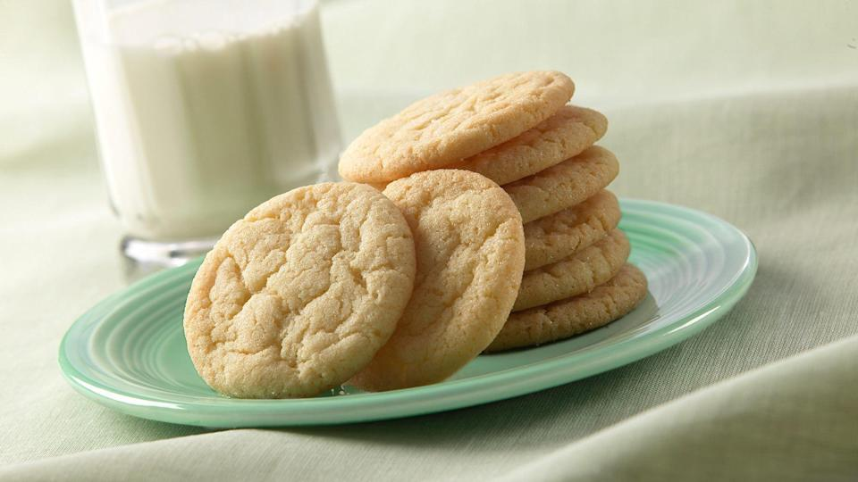 """<p>Vanilla sugar cookies might be the ideal cookie to make when you crave something sweet but don't want to go to the store — these use <a href=""""https://www.thedailymeal.com/what-is-the-shelf-life-of-rice-flour-pantry-staples?referrer=yahoo&category=beauty_food&include_utm=1&utm_medium=referral&utm_source=yahoo&utm_campaign=feed"""" rel=""""nofollow noopener"""" target=""""_blank"""" data-ylk=""""slk:ingredients that have long shelf lives"""" class=""""link rapid-noclick-resp"""">ingredients that have long shelf lives</a> and are probably in your pantry already.</p> <p><a href=""""https://www.thedailymeal.com/recipes/vanilla-sugar-cookies-recipe-0?referrer=yahoo&category=beauty_food&include_utm=1&utm_medium=referral&utm_source=yahoo&utm_campaign=feed"""" rel=""""nofollow noopener"""" target=""""_blank"""" data-ylk=""""slk:For the Vanilla Sugar Cookies recipe, click here."""" class=""""link rapid-noclick-resp"""">For the Vanilla Sugar Cookies recipe, click here.</a></p>"""