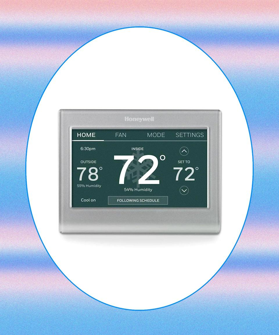 """<h2>Honeywell Wi-Fi Smart Color Silver Thermostat </h2>You know that panicky moment when you think you may have forgotten to turn off the A/C before leaving home? Invest in a smart thermostat that you can access from your phone or tablet while on the road. It also boasts permanent, temporary, and vacation hold settings so you won't have to disrupt your auto settings for a weekend getaway. <br><br><strong>Honeywell</strong> Honeywell Wi-Fi Smart Color Silver Thermostat with Wi-Fi Compatibility, $, available at <a href=""""https://go.skimresources.com/?id=30283X879131&url=https%3A%2F%2Fwww.lowes.com%2Fpd%2FHoneywell-Wi-Fi-Smart-Color-Silver-Thermostat-with-Wi-Fi-Compatibility%2F1000309287"""" rel=""""nofollow noopener"""" target=""""_blank"""" data-ylk=""""slk:Lowe's"""" class=""""link rapid-noclick-resp"""">Lowe's</a>"""