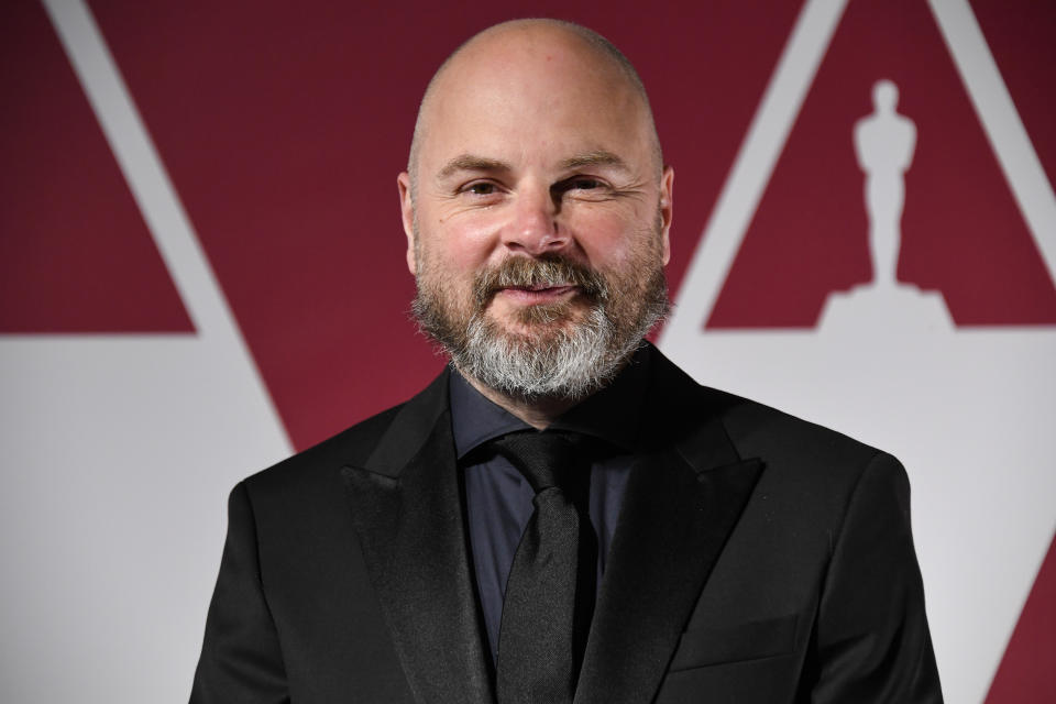 Andrew Lockley arrives at a screening of the Oscars on Monday, April 26, 2021 in London. (AP Photo/Alberto Pezzali, Pool)
