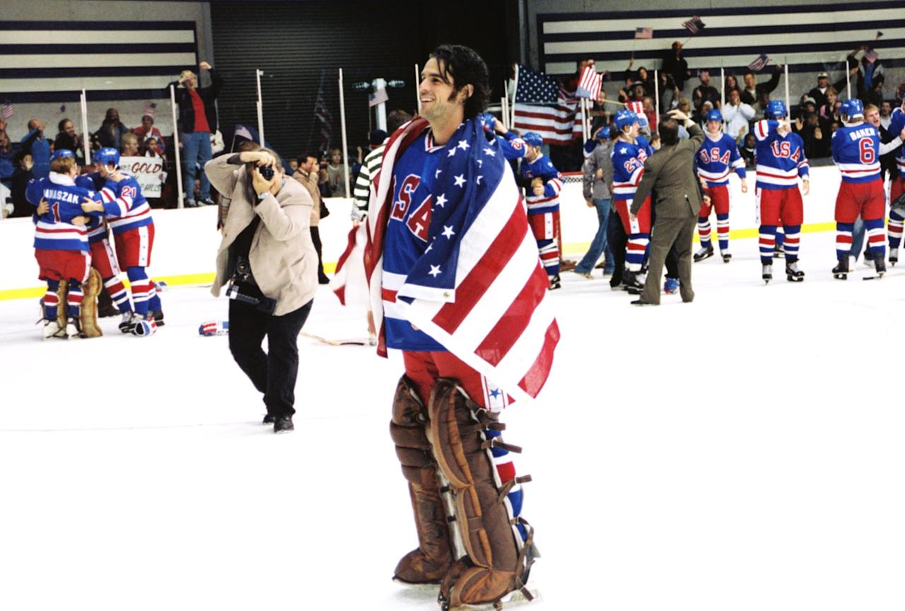 """<p>This inspiring Disney flick tells the true story of American hockey coach Herb Brooks, who's tasked with transforming a group of hot-headed college athletes into an Olympic squad capable of beating the heavily-favored Soviet team, a feat known as the """"Miracle on Ice.""""</p> <p><a href=""""http://www.netflix.com/title/60033300"""" target=""""_blank"""" class=""""ga-track"""" data-ga-category=""""Related"""" data-ga-label=""""http://www.netflix.com/title/60033300"""" data-ga-action=""""In-Line Links"""">Watch <strong>Miracle</strong> on Netflix</a>.<br> <a href=""""http://www.disneyplus.com/movies/miracle/38uh6GJall9b"""" target=""""_blank"""" class=""""ga-track"""" data-ga-category=""""Related"""" data-ga-label=""""http://www.disneyplus.com/movies/miracle/38uh6GJall9b"""" data-ga-action=""""In-Line Links"""">Watch <strong>Miracle</strong> on Disney+</a>.</p>"""