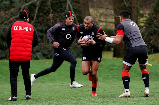 Rugby Union - England Training - Pennyhill Park, Bagshot, Britain - February 20, 2018 England's Jonathan Joseph, Anthony Watson and Ben Te'o during training Action Images via Reuters/Paul Childs