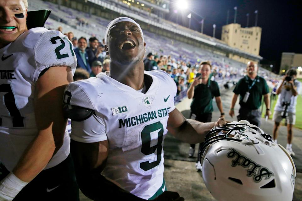 Michigan State Spartans running back Kenneth Walker III (9) celebrates their victory after the game at Ryan Field. The Michigan State Spartans won 38-21 on Friday Sept. 3, 2021.