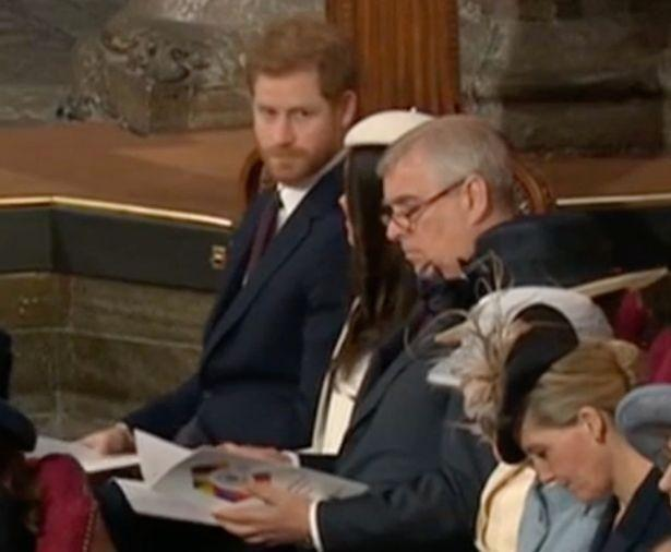 Prince Harry was caught raising his eyebrows at his fiancé after Liam Payne's performance. Photo: BBC