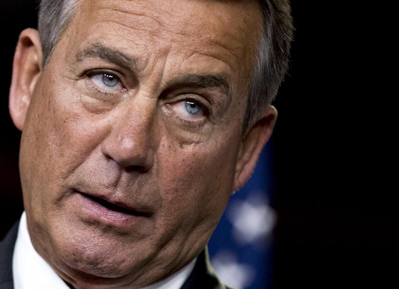 "House Speaker John Boehner of Ohio speaks to reporters on Capitol Hill in Washington, Thursday, Nov. 29, 2012, after private talks with Treasury Secretary Timothy Geithner on the fiscal cliff negotiations. Boehner said no substantive progress has been made between the White House and the House"" in the past two weeks.  (AP Photo/J. Scott Applewhite)"