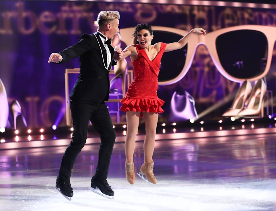 Editorial use only Mandatory Credit: Photo by Matt Frost/ITV/Shutterstock (11777383dr) Faye Brookes and Matt Evers 'Dancing On Ice' TV show, Series 13, Episode 6, Hertfordshire, UK - 28 Feb 2021