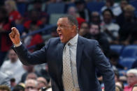 New Orleans Pelicans head coach Alvin Gentry reacts to a technical foul call against guard Josh Hart in the second half of an NBA basketball game against the Orlando Magic in New Orleans, Sunday, Dec. 15, 2019. Gentry was ejected from the game moments later. (AP Photo/Gerald Herbert)
