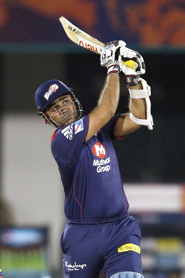 Virender Sehwag of Delhi Daredevils hits over the top for six during match 39 of the Pepsi Indian Premier League between The Delhi Daredevils and the Pune Warriors India held at the Chhattisgarh International Cricket Stadium in Raipur on the 28th April 2013. (BCCI)