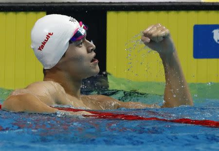 Swimming – 17th FINA World Aquatics Championships – Men's 400m Freestyle final – Budapest, Hungary – July 23, 2017 – Yang Sun of China reacts after winning. REUTERS/Stefan Wermuth
