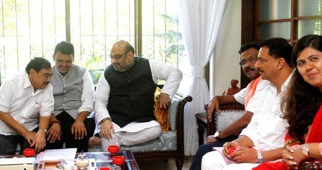 Union Home Minister Amit Shah with Devendra Fadnavis,  Eknath Khadse and Pankaja Munde in a file photo