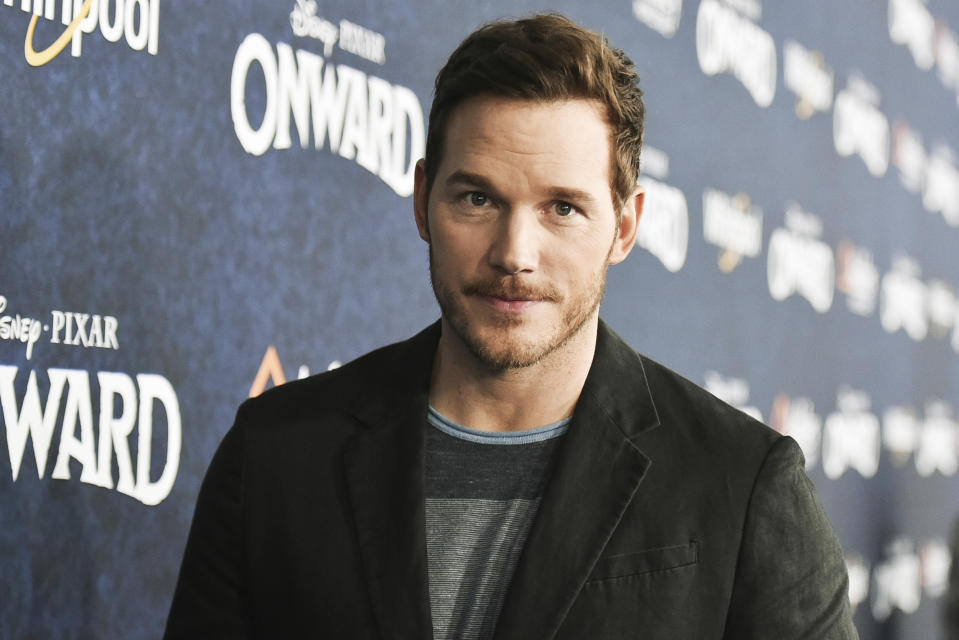 "Chris Pratt attends the world premiere of ""Onward"" at the El Capitan Theatre on Tuesday, Feb. 18, 2020, in Los Angeles. (Photo by Richard Shotwell/Invision/AP)"