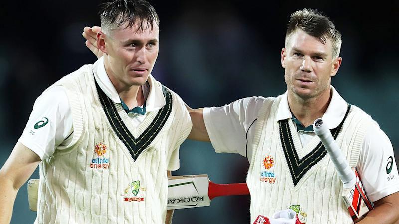 Marnus Labuschagne and David Warner, pictured here in action for Australia against Pakistan.