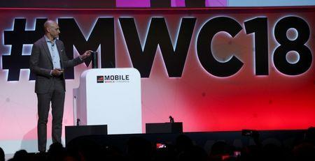 McAfee Chief Executive Officer Christopher Young delivers a keynote speech at the Mobile World Congress in Barcelona, Spain, February 27, 2018. REUTERS/Sergio Perez/Files