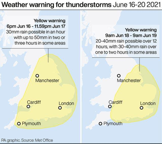 Weather warning for thunderstorms June 16-20 2021
