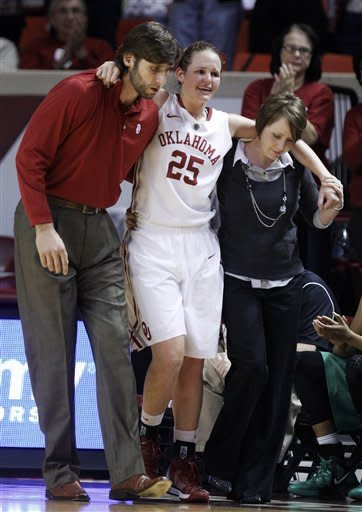 Oklahoma guard Whitney Hand (25) is helped off the court by strength and conditioning coach Joszef Szendrei, left, and trainer Carolyn Loon, right, following an injury in the first half of a women's NCAA college basketball game against North Texas in Norman, Okla., Thursday, Dec. 6, 2012. (AP Photo/Sue Ogrocki)