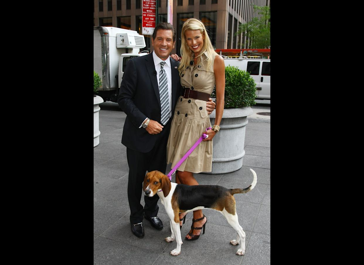 NEW YORK, NY - AUGUST 09: Beth Ostrosky Stern along with FOX & Friends host Eric Bolling promotes the benefits of adopting a dog from a shelter whilst visiting the set of 'FOX & Friends' at FOX Studios on August 9, 2011 in New York City. (Photo by Neilson Barnard/Getty Images)