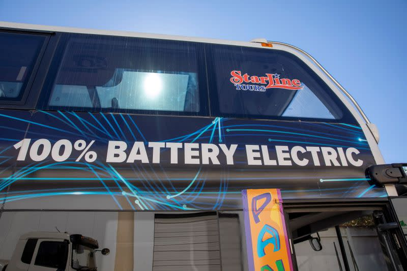 A double deck bus is shown ready for deliver at the BYD electric bus factory in Lancaster, California