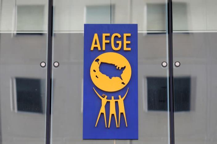 FILE PHOTO: The logo of the American Federation of Government Employees (AFGE) is seen on the outside of their headquarters in Washington, D.C.