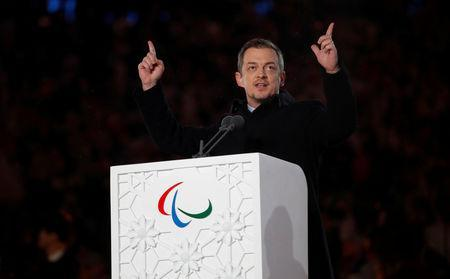 FILE PHOTO: Pyeongchang 2018 Winter Paralympics - Closing Ceremony - Pyeongchang Olympic Stadium - Pyeongchang, South Korea - March 18, 2018 - President of the International Paralympic Committee Andrew Parsons speaks during the closing ceremony. REUTERS/Carl Recine