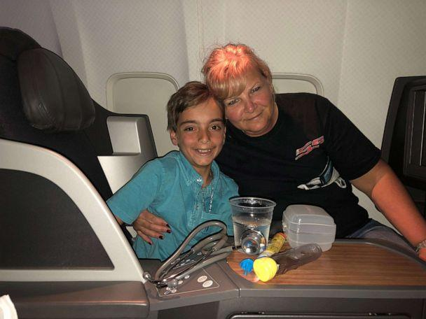 PHOTO: Luca Ingrassia with the nurse who saved his life on his flight after he experienced an allergic reaction. (The Ingrassia Family)