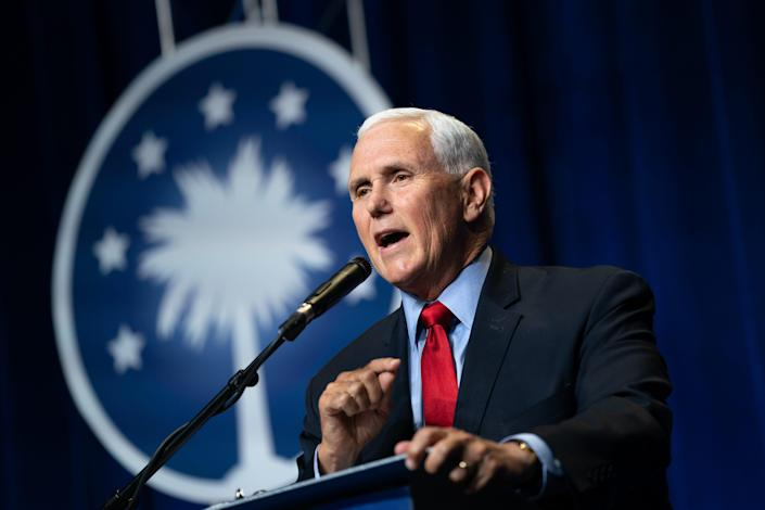 Former Vice President Mike Pence speaks to a crowd during an event sponsored by the Palmetto Family organization on April 29 in Columbia, S.C.. The address was his first since the end of his vice presidency.
