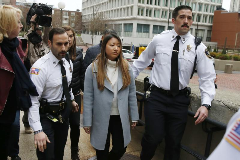 """Inyoung You arrives at Suffolk Superior Court in Boston, Friday, Nov. 22, 2019. Prosecutors say You sent Alexander Urtula more than 47,000 text messages in the last two months of their relationship, including many urging him to """"go kill yourself."""" (AP Photo/Michael Dwyer)"""