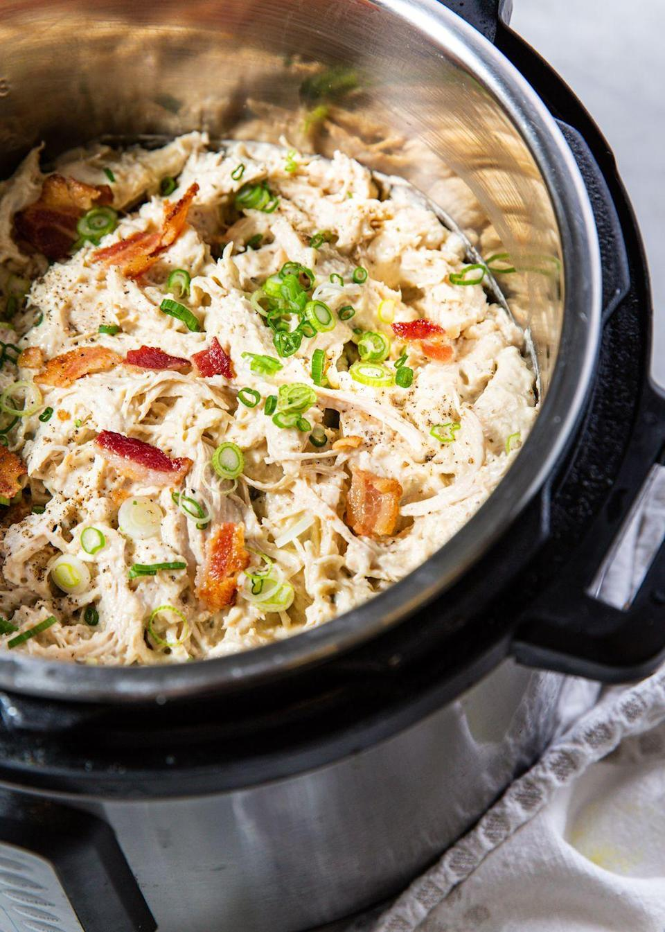 """<p>This is both incredibly versatile and totally delicious.</p><p>Get the recipe from <a href=""""https://www.delish.com/cooking/recipe-ideas/a30472379/instant-pot-crack-chicken-recipe/"""" rel=""""nofollow noopener"""" target=""""_blank"""" data-ylk=""""slk:Delish."""" class=""""link rapid-noclick-resp"""">Delish.</a></p>"""