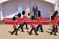 <p>On Sunday, the President and First Lady traveled to Windsor, where they met with Queen in the quadrangle of Windsor Castle where they watched a military display before heading inside for tea.</p>