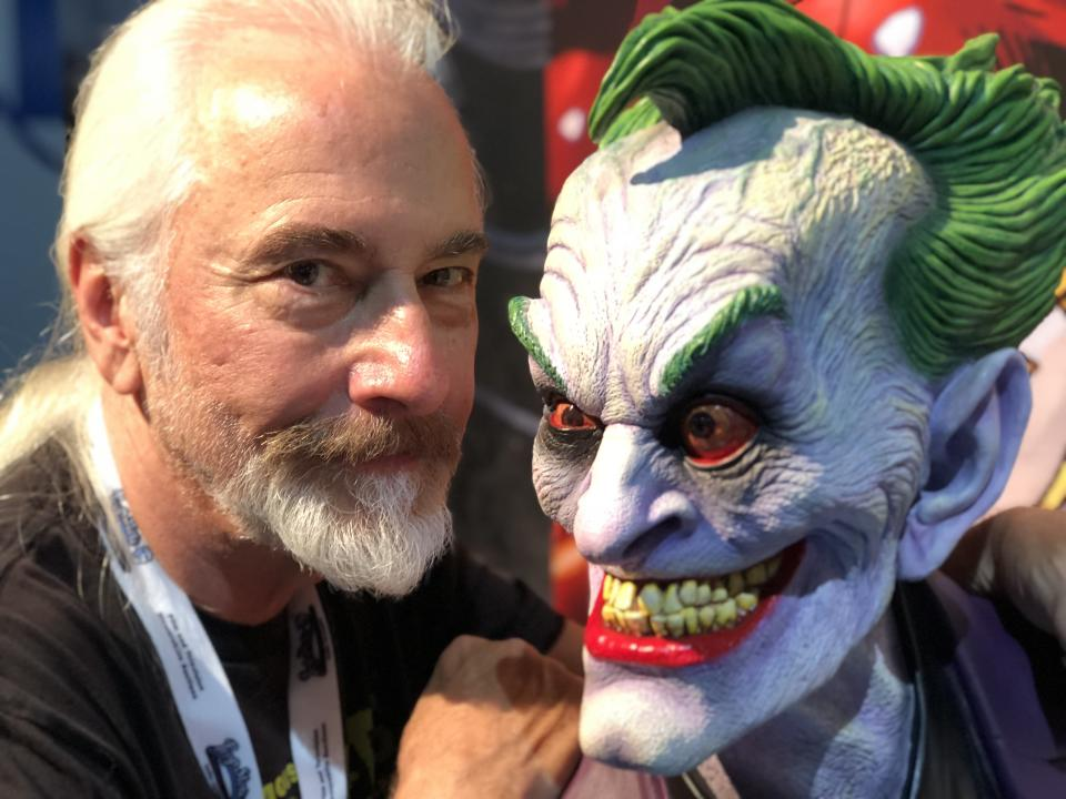 Baker models with his version of the Joker. (Photo: Ethan Alter)