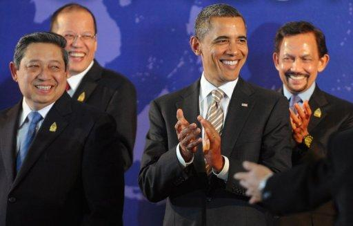 This file photo shows US President Barack Obama (2nd R) standing next to Southeast Asian leaders, Indonesian President Susilo Bambang Yudhoyono (L), Philippines President Benigno Aquino (2nd L) and Brunei Sultan Hassanal Bolkiah, during a group photo session for the leaders of the East Asia Summit in Nusa Dua on Indonesia's resort island of Bali, in 2011