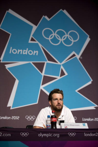 Australian swimmer James Magnussen speaks during a news conference at the Main Press Center ahead of the 2012 Summer Olympics, Monday, July 23, 2012, in London. (AP Photo/Matt Dunham)