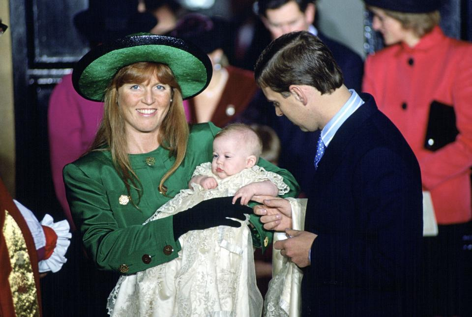 <p>Sarah Ferguson and Prince Andrew at Princess Beatrice's Christening in 1988. (Tim Graham/Getty Images)</p>