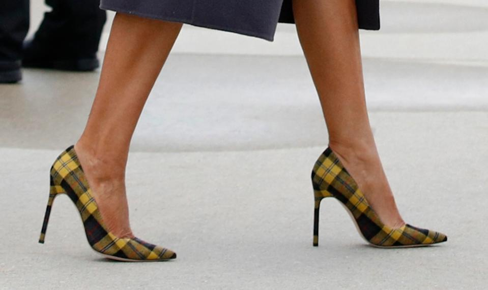 manolo blahnik fall 2018 collection, yellow plaid bb pumps