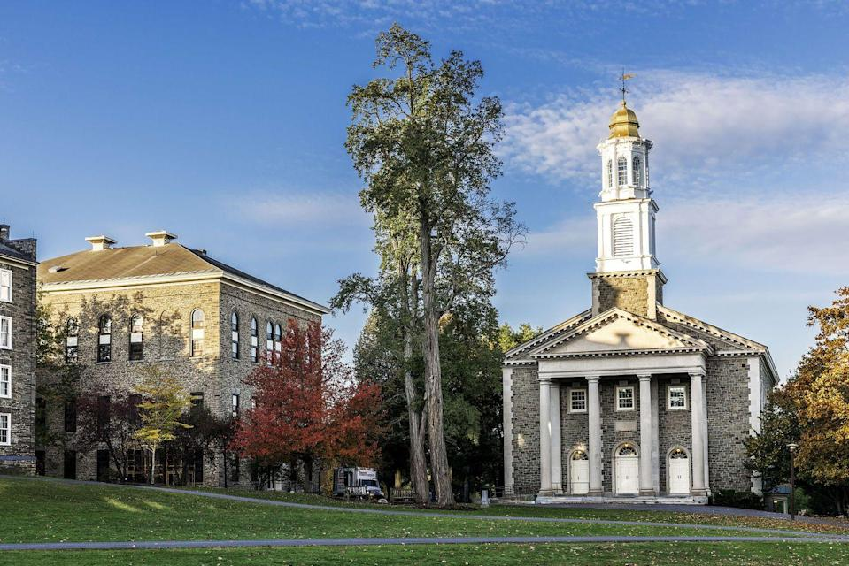 """<p>Hamilton, New York</p><p>Tuition: <a href=""""http://www.colgate.edu/admission-financial-aid/tuition-and-fees"""" rel=""""nofollow noopener"""" target=""""_blank"""" data-ylk=""""slk:$53,650"""" class=""""link rapid-noclick-resp"""">$53,650</a></p>"""