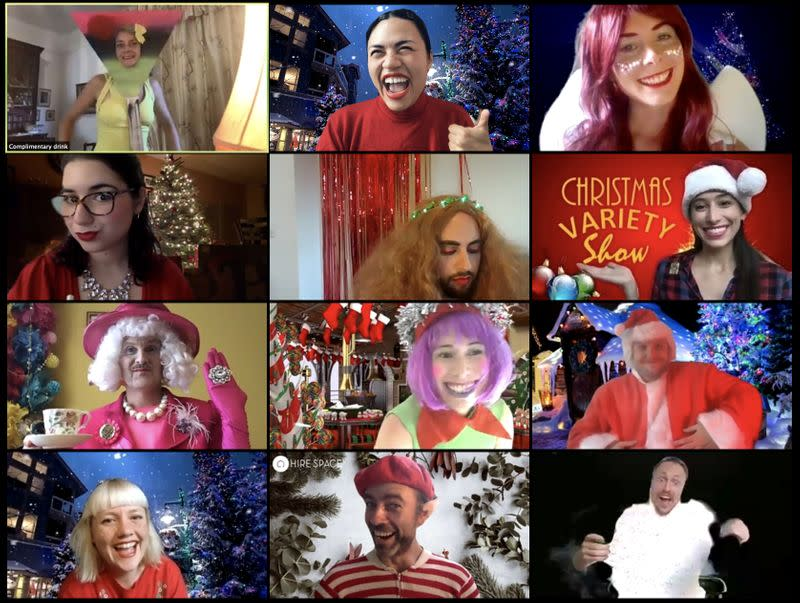 Entertainers prepare for an online work Christmas party organized by events firm Hire Space
