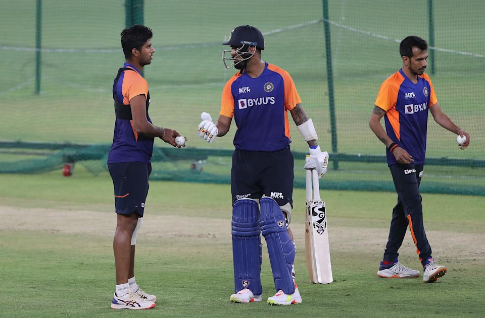 Washington Sundar and KL Rahul of India look on during an India Net Session at Narendra Modi Stadium on March 09, 2021 in Ahmedabad, India. (Photo by Surjeet Yadav/Getty Images)